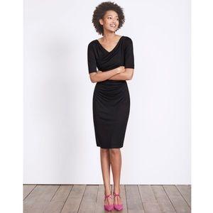 Boden Black Rita Ruched Short Sleeve Jersey Dress